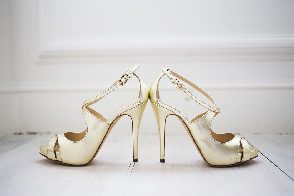 gold open toe wedding shoes