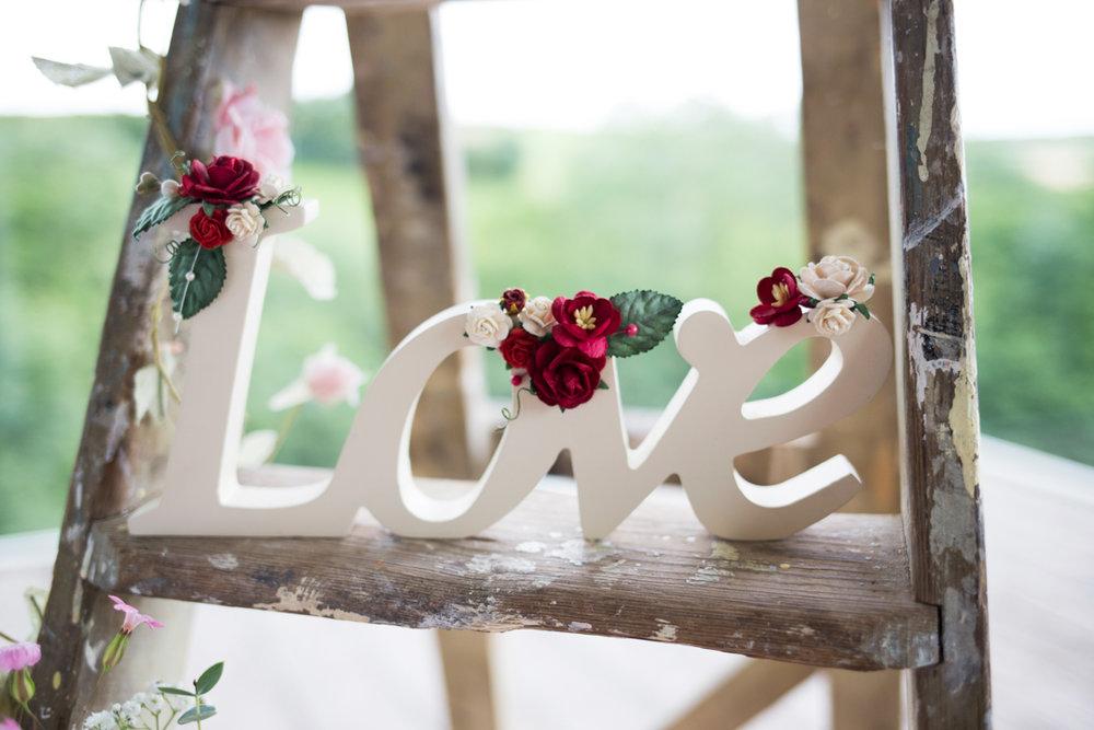 decorated wedding ladder