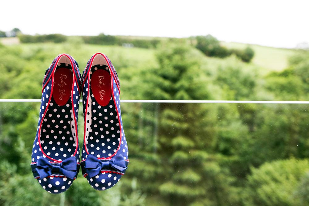 Ruby Shoo blue polka dot