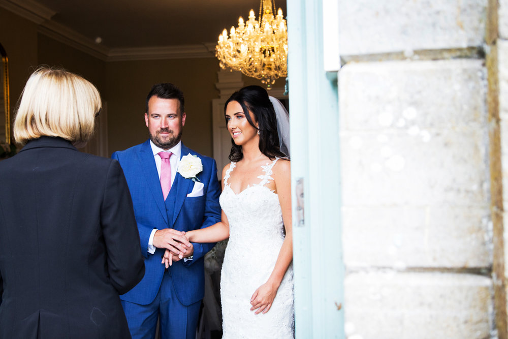 bride and groom in wedding ceremony Kingston Estate