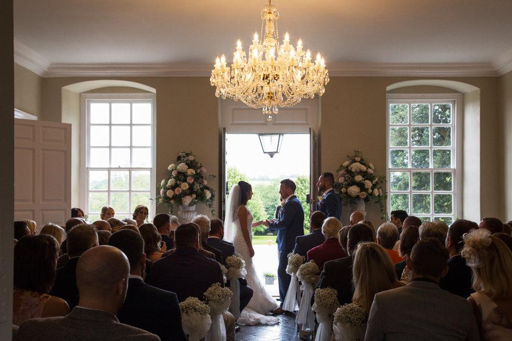bride and groom say vows Kingston Estate Totnes