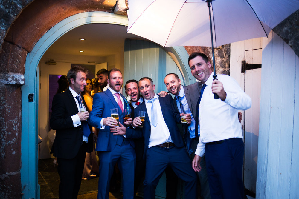 the lads outside disco at Kingston Estate wedding