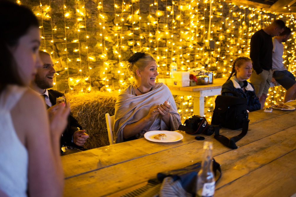 fairy lights in Barn at Kingston Estate wedding