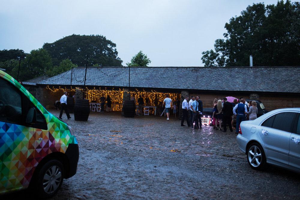 evening reception in the rain Kingston Estate Devon