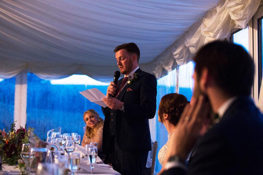 grooms speech marquee Quantock