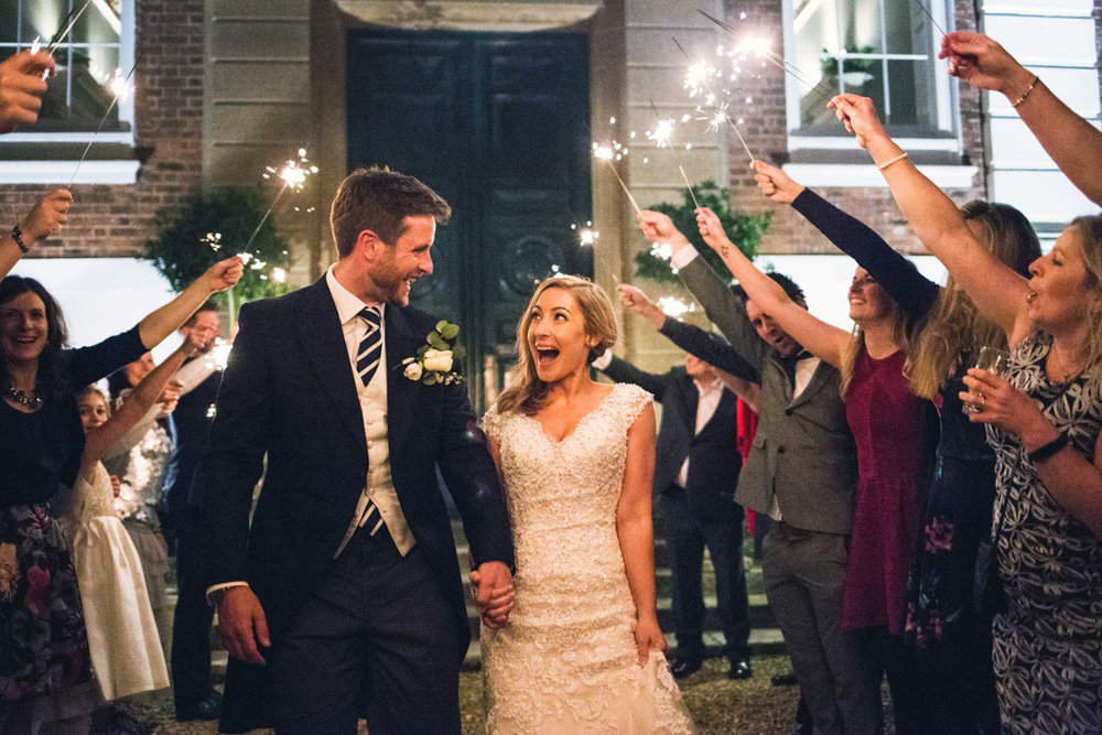 wedding sparklers Pynes House Exeter