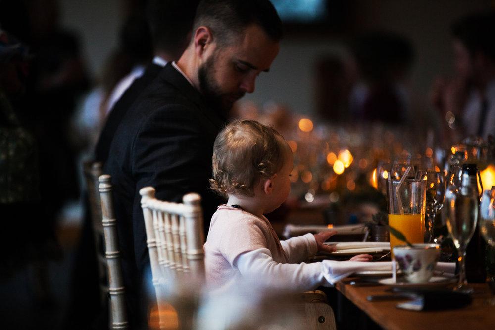 baby at wedding breakfast quantock