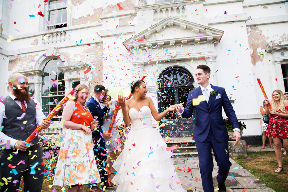 colourful wedding confetti canon
