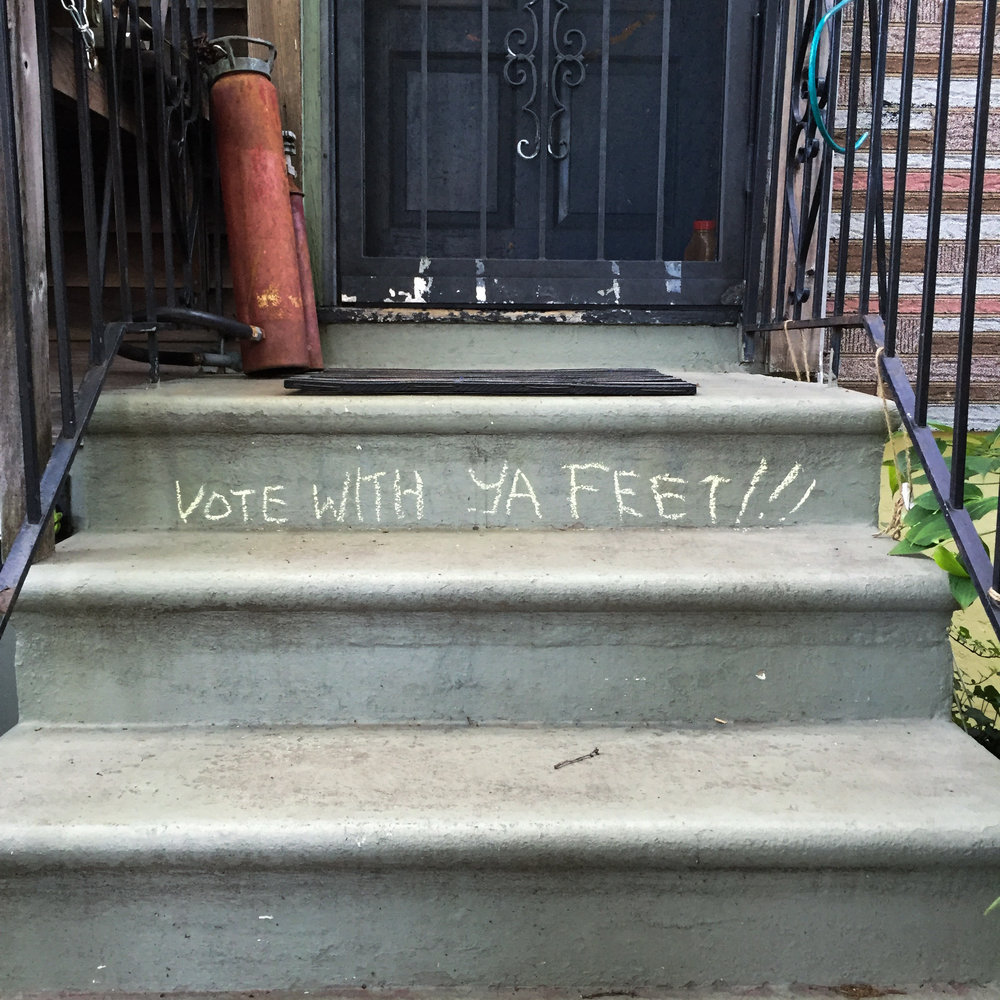 Chalk message on our landlord's stoop the morning after the New York Democratic primary. | Brooklyn - April 2016