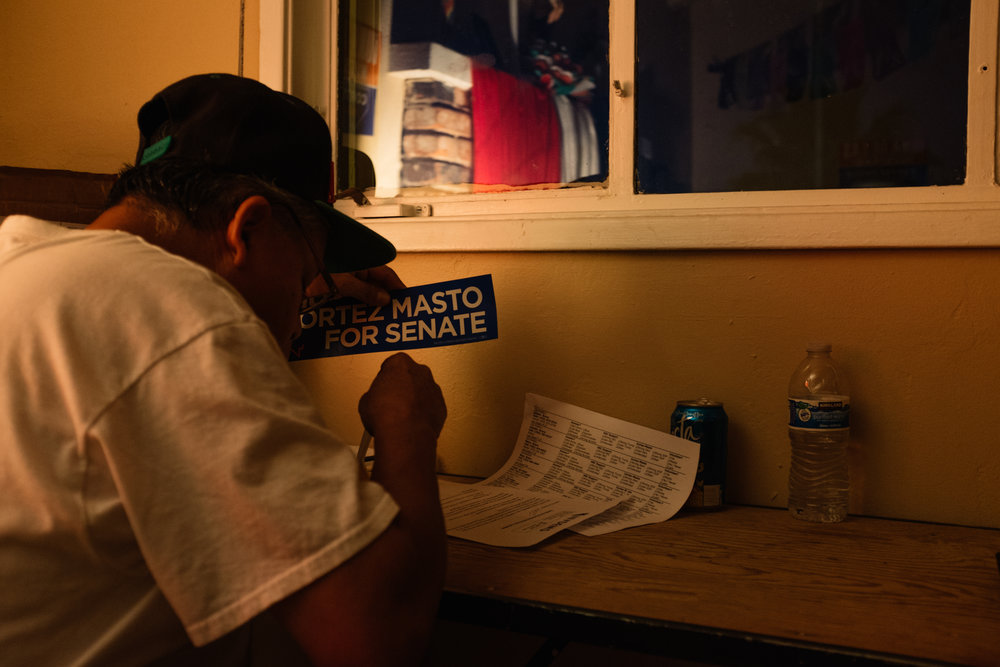 A phone bank volunteer takes a break for sopa cabrito while campaigning for Catherine Cortez-Masto in Nevada. | Las Vegas, NV - Sept 2016