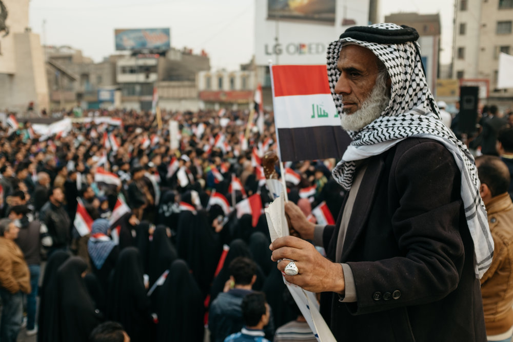Two years running, Iraqis come to Tahrir Square in Baghdad to protest government corruption and failures. | Baghdad, Iraq - Dec 2016