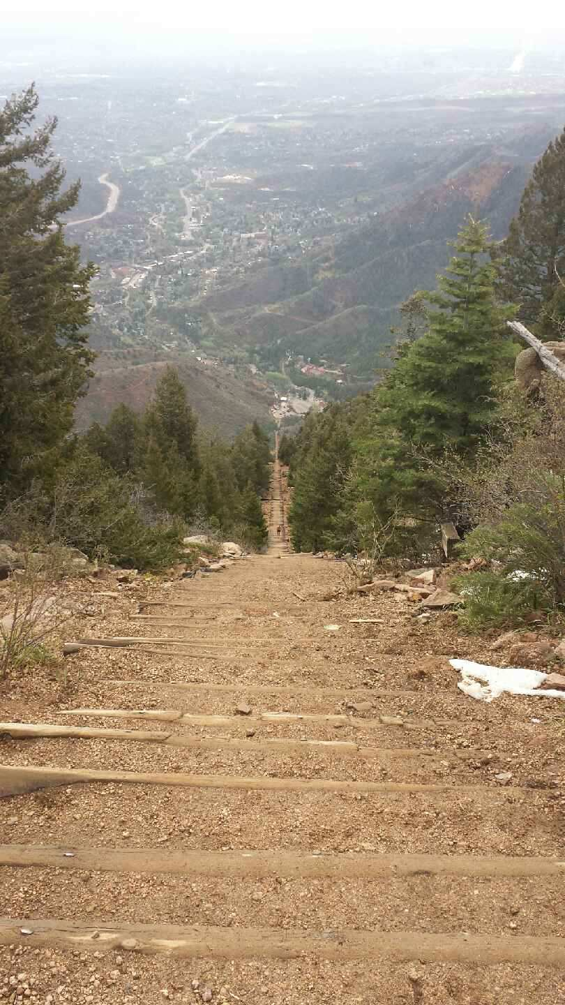 View from the top of the Manitou Incline in Manitou Springs, Colorado
