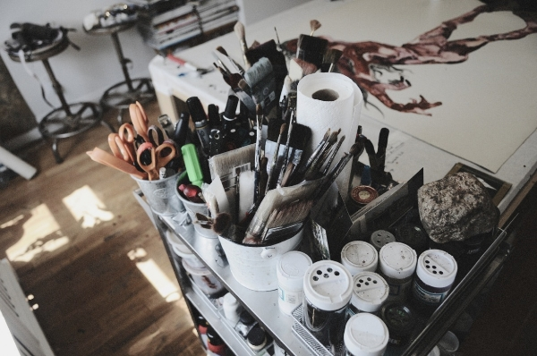 A shot from Wangechi Mutu's studio in her Brooklyn home. Photo credit: J. Quazi King