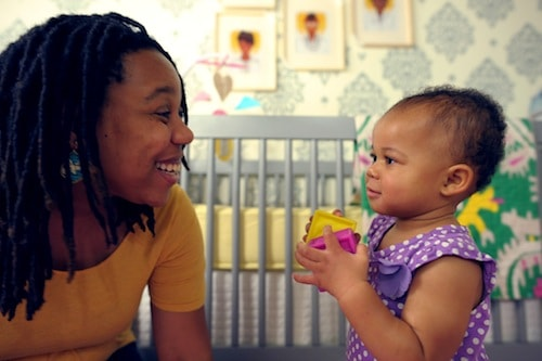 Belt and her daughter Brooklyn in her old nursery for Lonny Magazine. Photo credit: Leon Belt