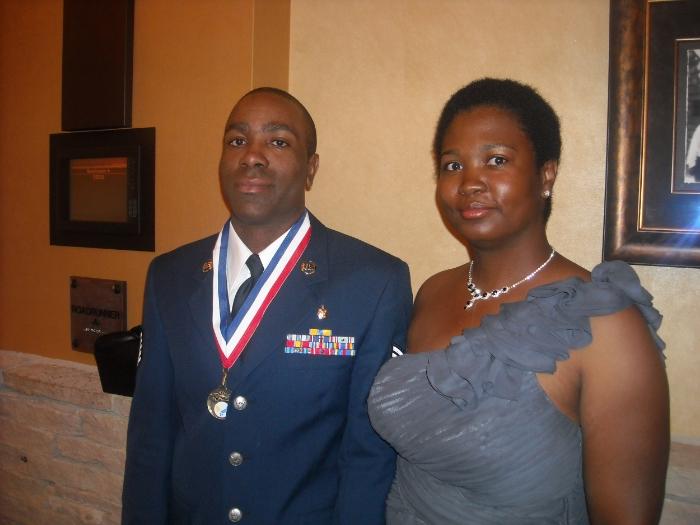 Queneesha Meyers with her husband.