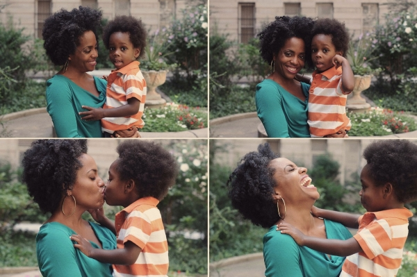 Ross with her son Raif-Henok Emmanuel Kendrick in their apartment's courtyard in Harlem.