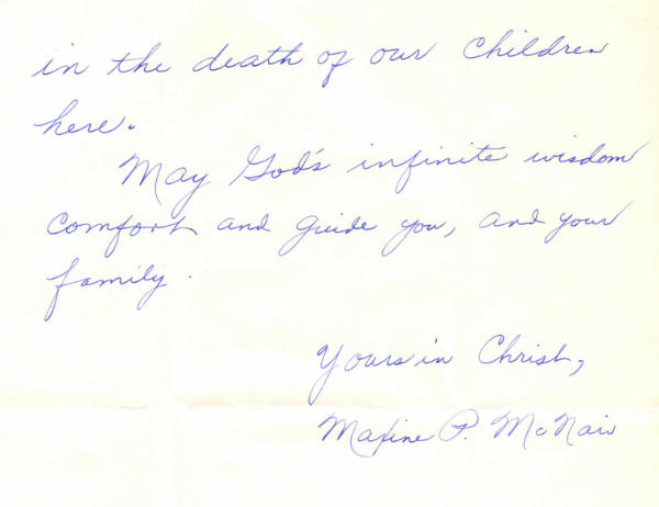 An excerpt from Maxine P. McNair's letter to Jackie Kennedy.  Source: JFK Digital Library
