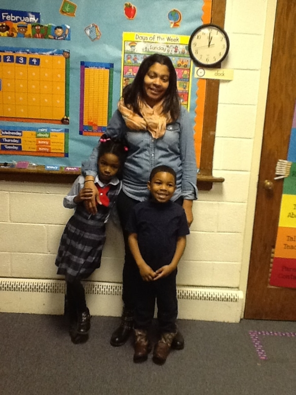 Tamika Stephens with her two children.