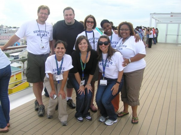 Author Tosh Patterson (top row, far right) on her Semester at Sea sabbatical.