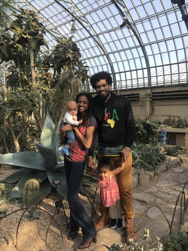 Tayo's family today at the Garfield Park Conservatory in Chicago.