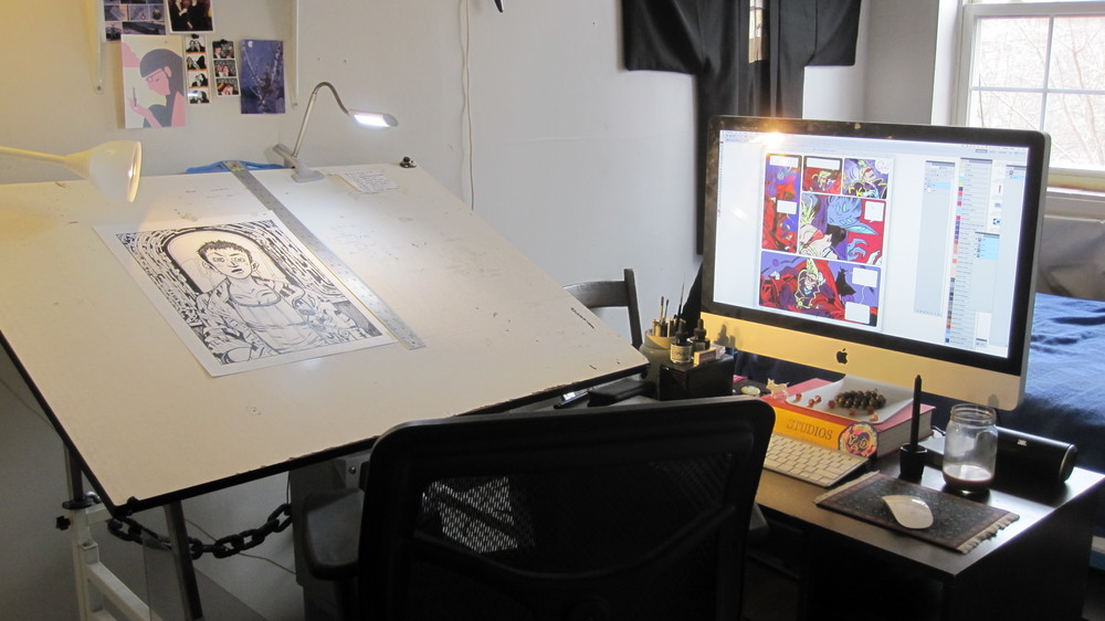 Wyeth's drawing table and computer