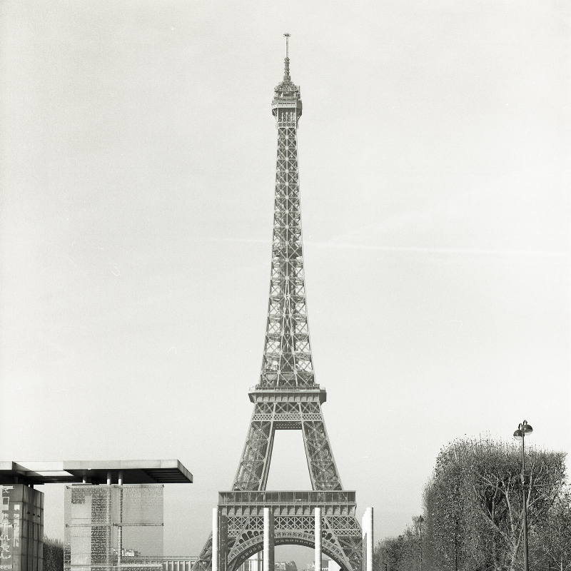 The Eiffel Tower, viewed from the far end of the Champ de Mars.