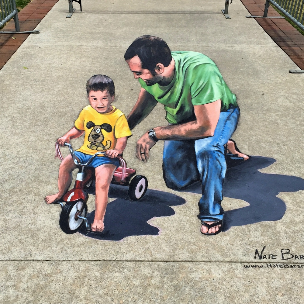 "3D Street Painting: ""Learning to Ride"""