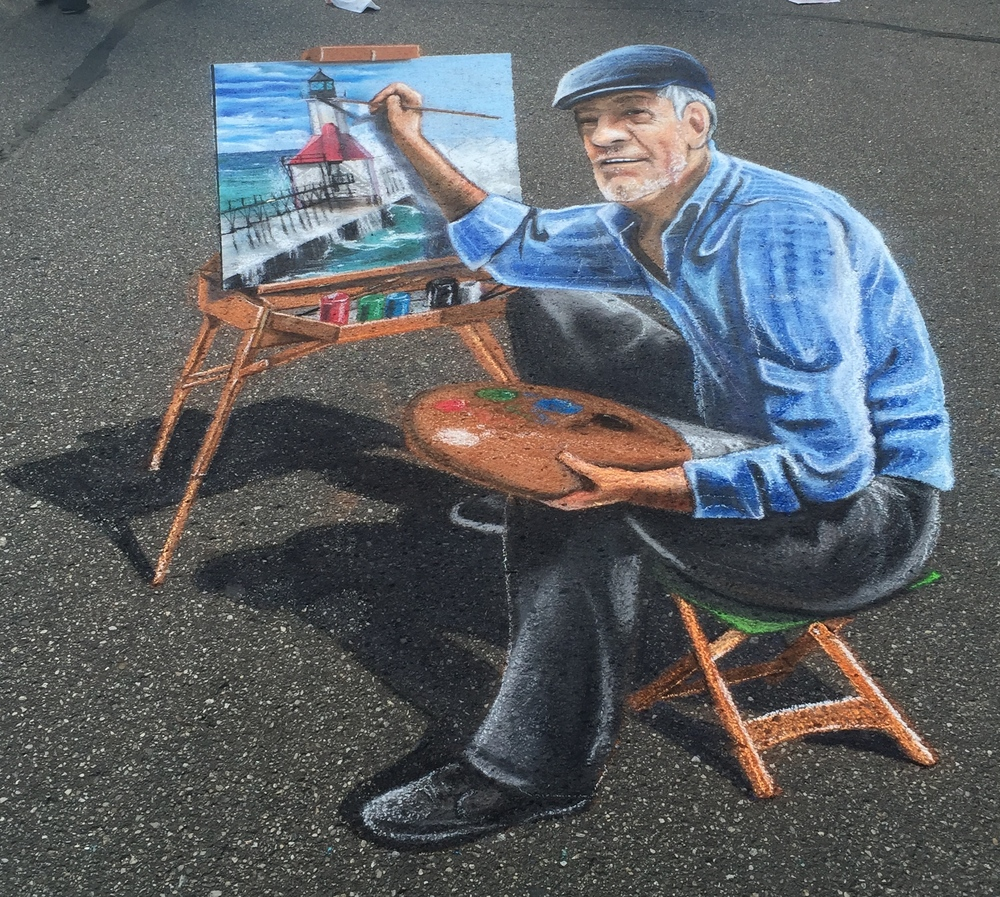 3D Chalk Art: Lighthouse Painter