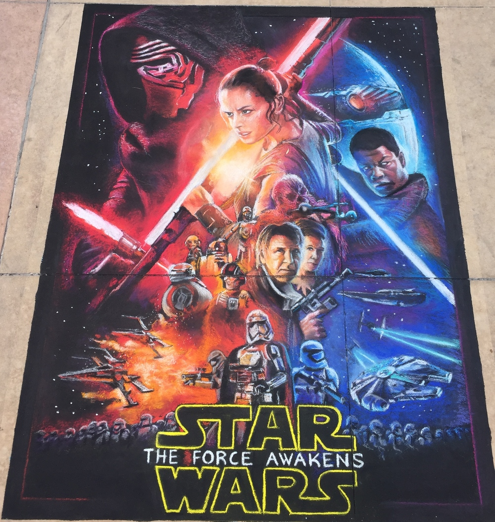 2D Chalk Art: Star Wars Movie Poster