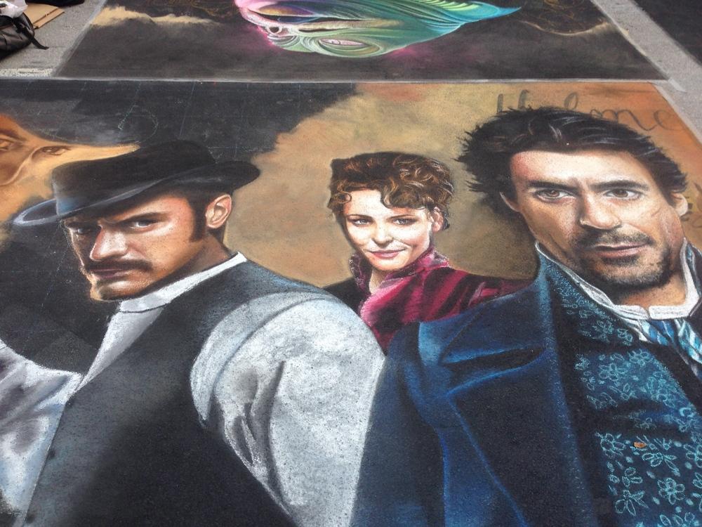 2D Chalk Art: Sherlock Holmes