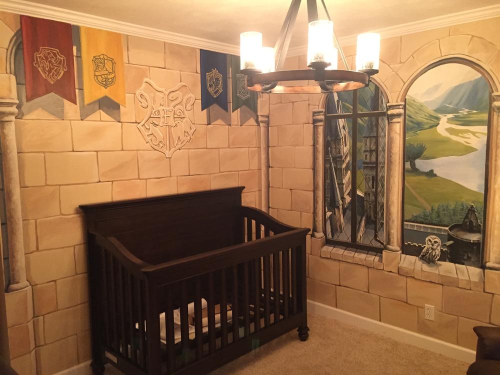 Hogwarts Inspired Nursery Mural
