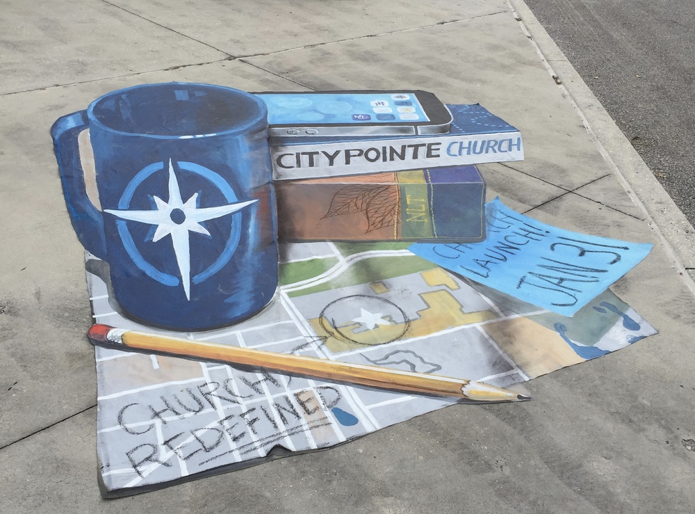 3D Chalk Art: CityPointe Church Launch