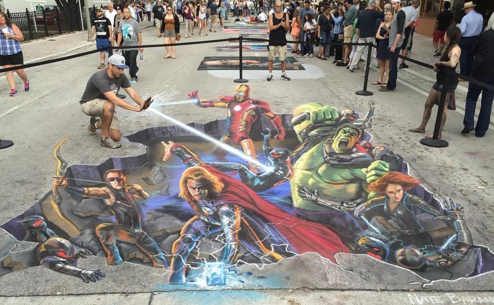 3D Chalk Art: Avengers
