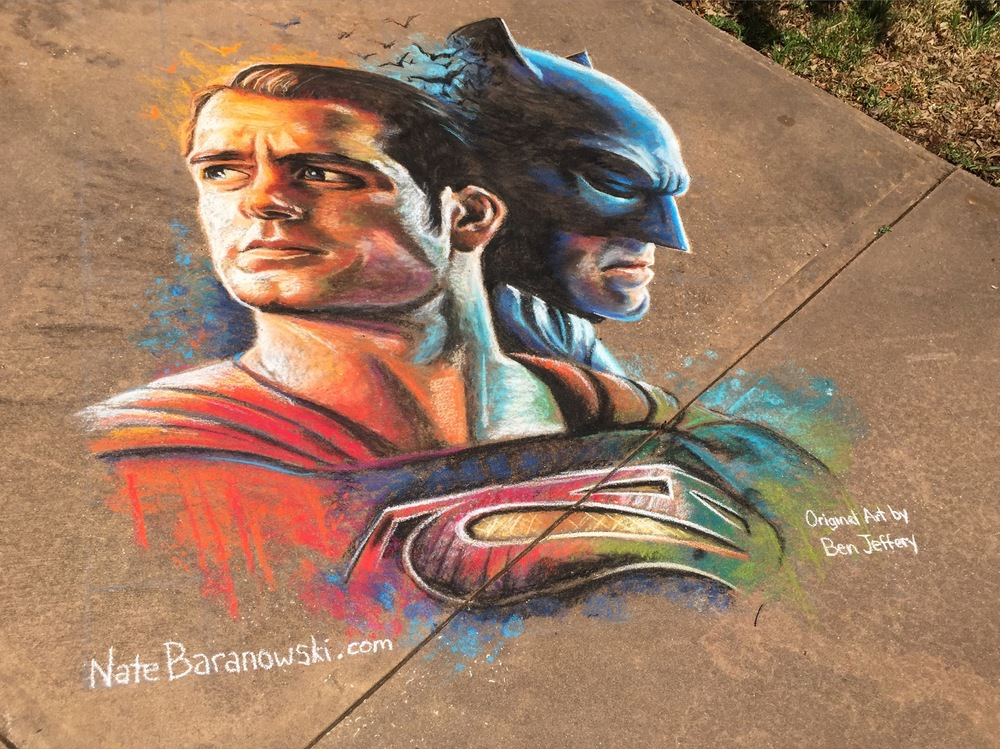 2D Chalk Art: Batman vs. Superman
