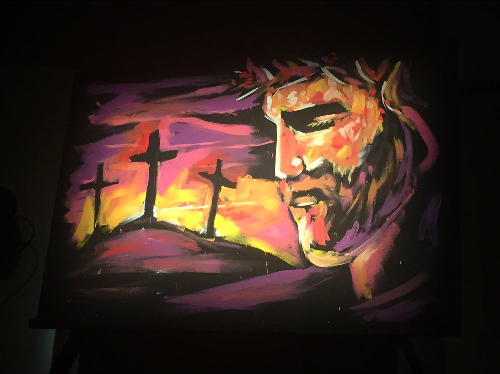 Speed painting completed live Easter church services during an 8-minute song. 4'x6'
