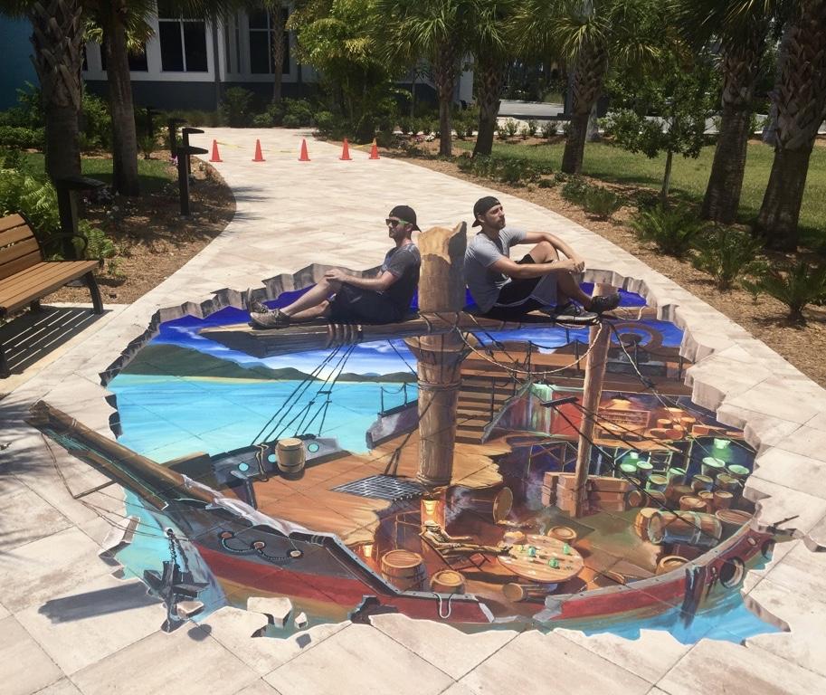 Rum Runner Shipwreck 3D Street Painting