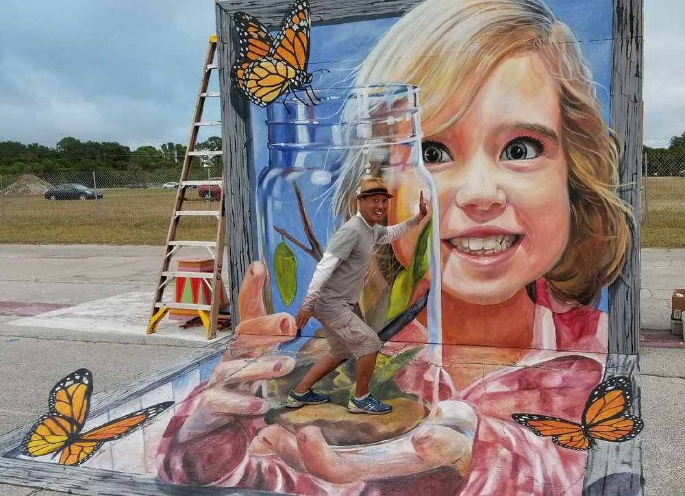 3D Art Human trapped in a butterfly jar in Venice, Florida