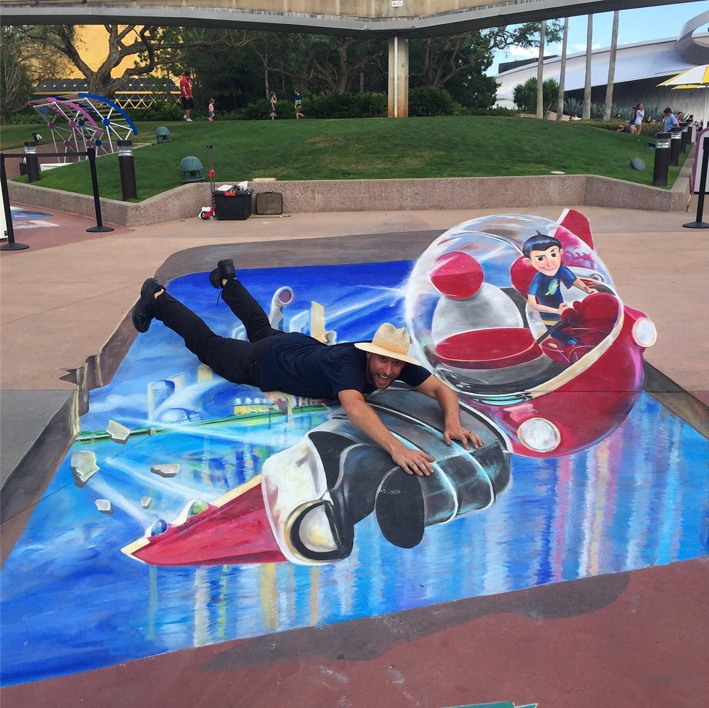 Meet the Robinsons Chalk Art at Epcot for Disney's 2018 Epcot International Festival of the Arts