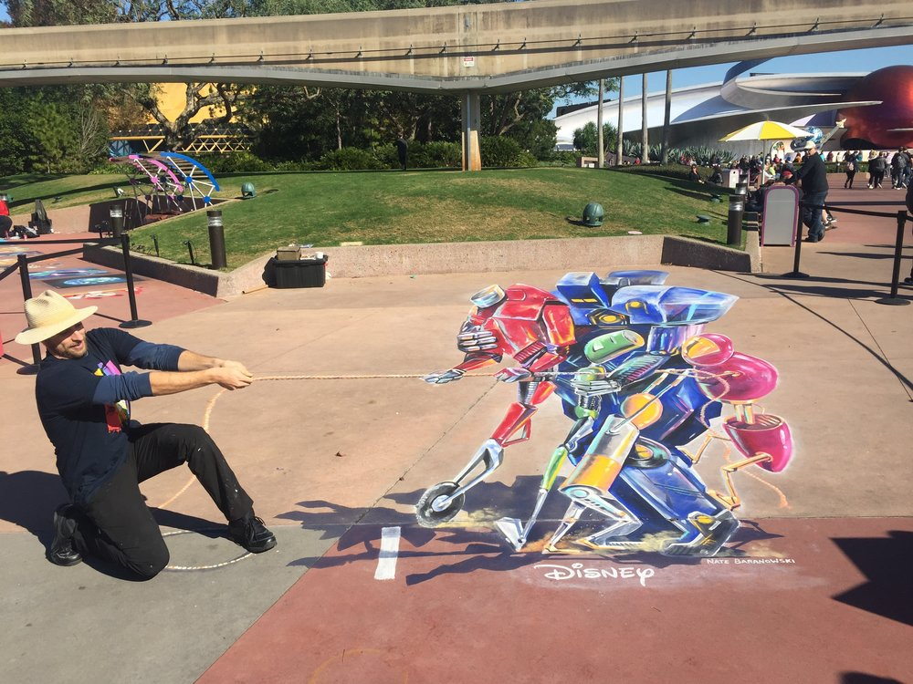 3D Chalk Robot Tug of War at Disney for the 2018 Epcot International Festival of the Arts