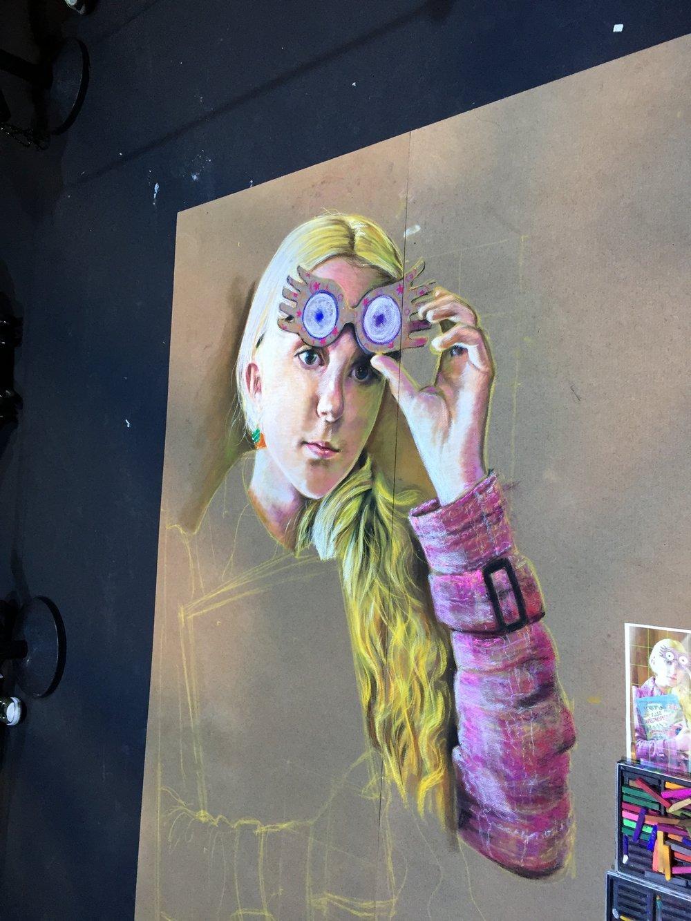 Luna Lovegood Face in Chalk