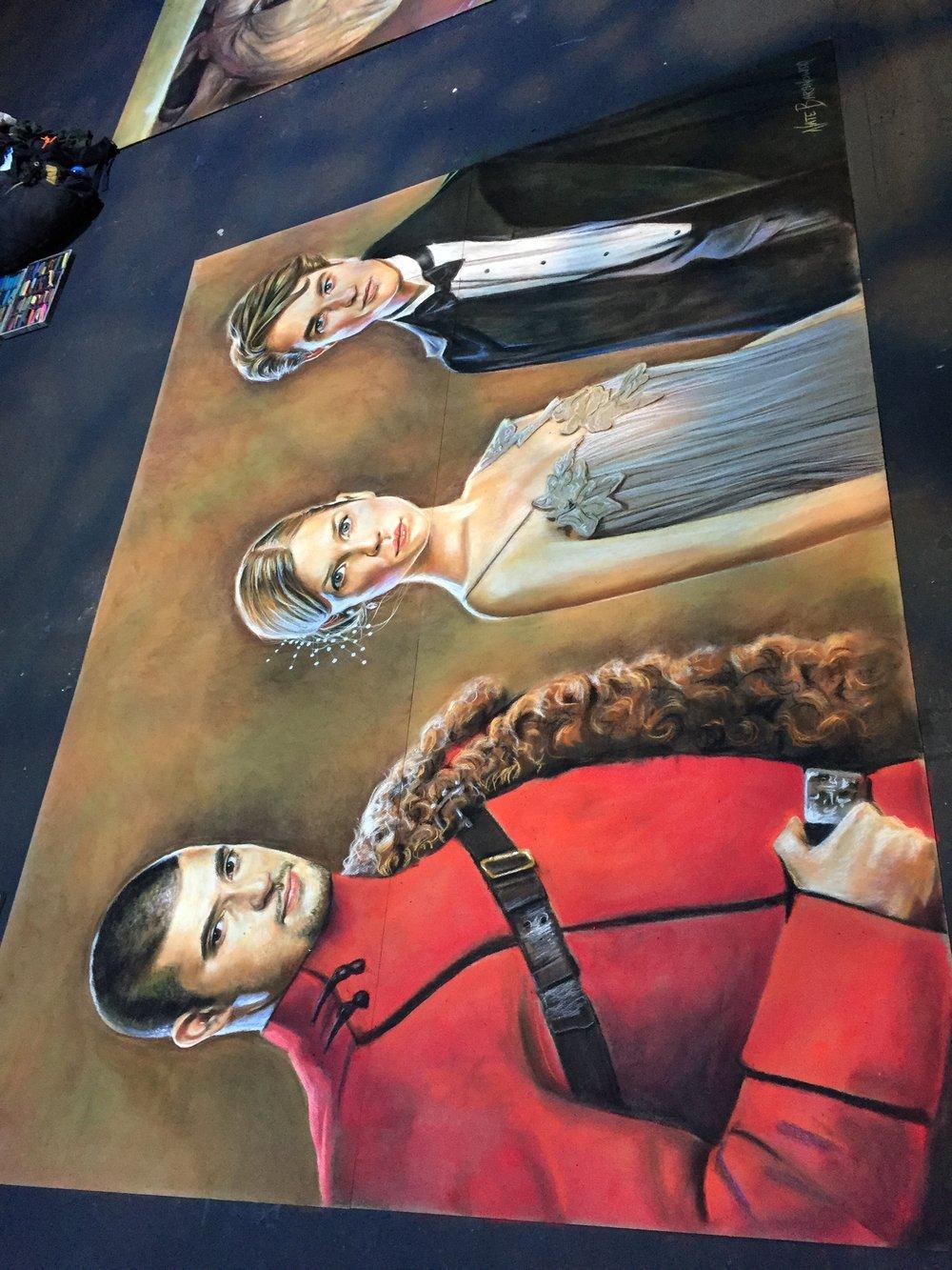 Triwizard Champions Chalk Art