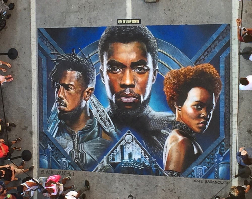 2018 Lake Worth Street Painting Festival Chalk Art of Black Panther