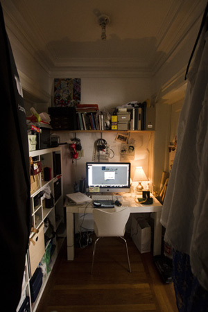 """The Cloffice"" - aka closet-office. Bigger than it looks from the outside."