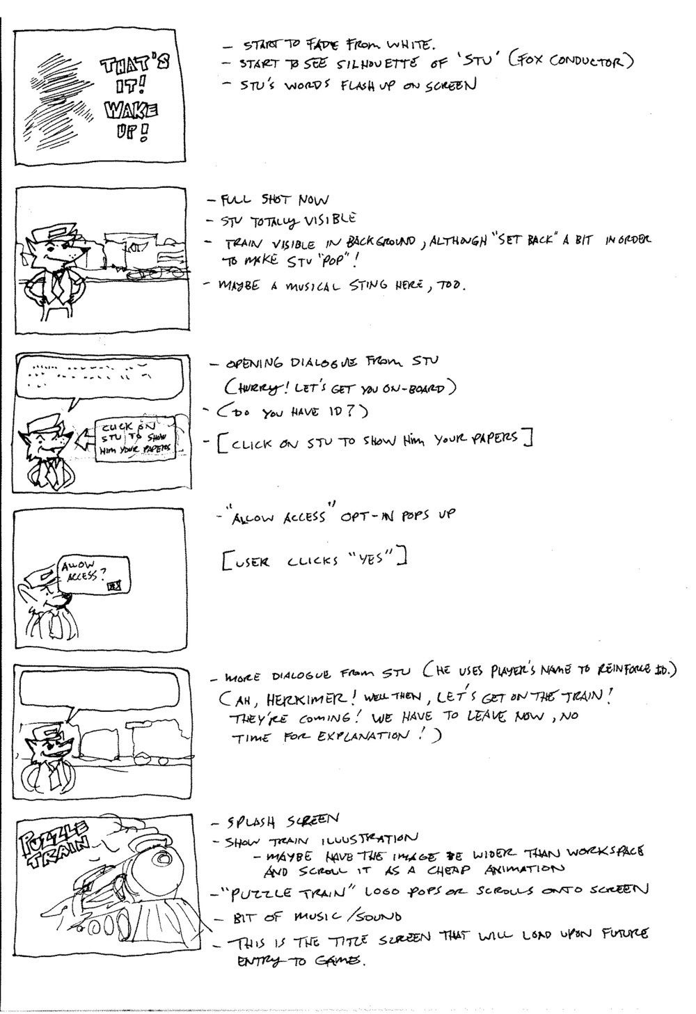 Storyboards for the opening cutscene.