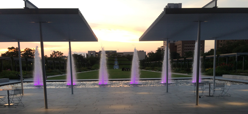 Fountains at dusk. McGovern Centennial Gardens, Hermann Park, Houston