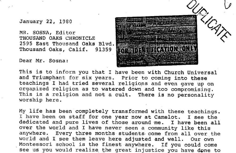 The above letter was written by Gregory Mull in 1980 in response to newspaper articles portraying Church Universal and Triumphant as a cult. Six years later, he was awarded $1.5 million by a jury after claiming that the group was really a destructive cult. The letter was used as evidence in the trial. The panel will address questions of agency in letter writing and other individual actions.