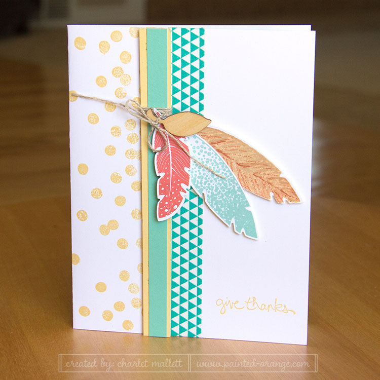 Give Thanks Four Feathers Card
