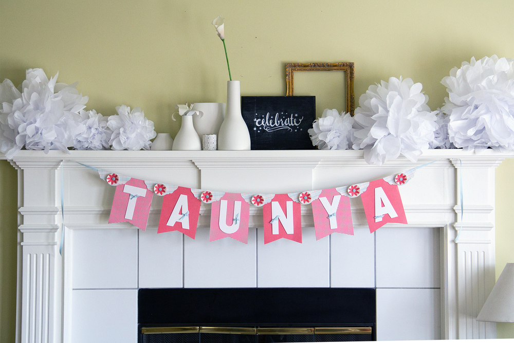 Taunya banner, Tissue POM POMs and other party decor