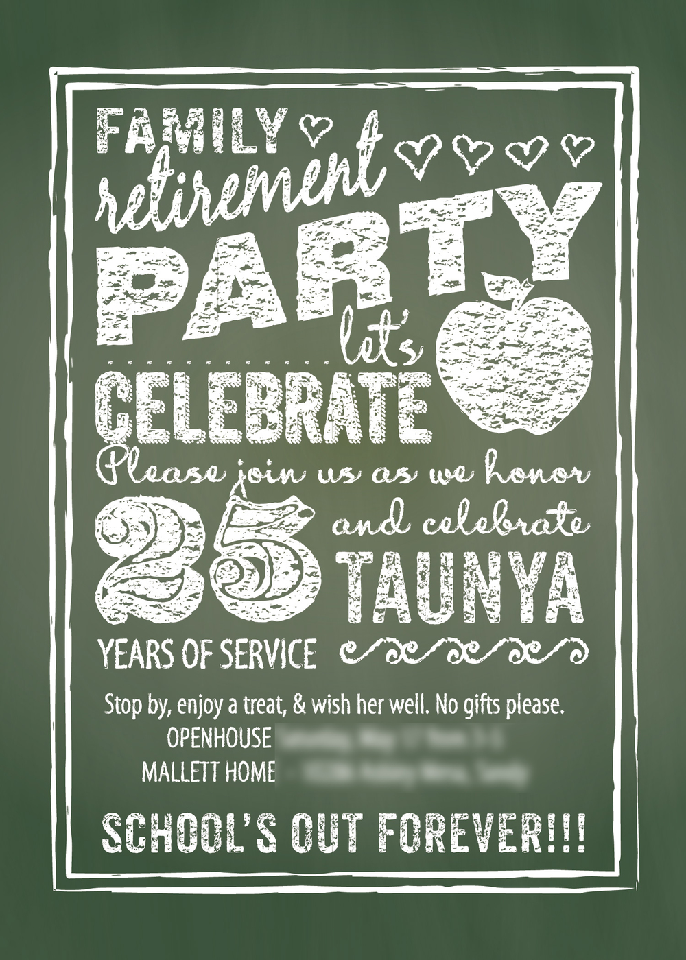 Taunya's retirement party invitation