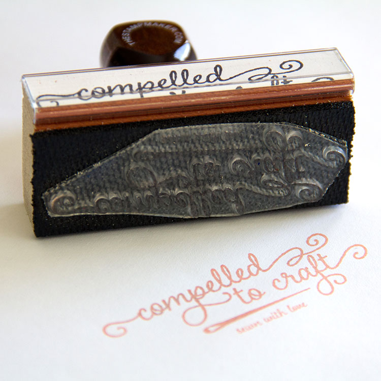 Rubber stamp of the Compelled to Craft logo.